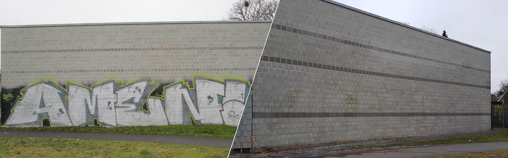 Graffitientfernung Oldenburg Mauer Wendehafen